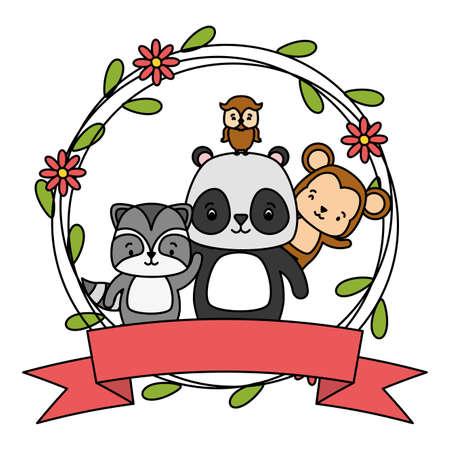 cute monkey panda raccoon owl animals wreath flowers vector illustration