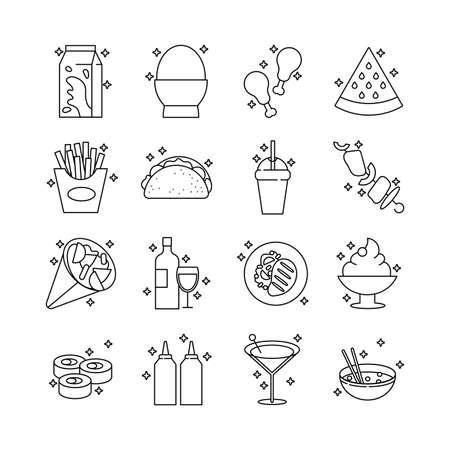 bundle of nutritive food set icons vector illustration design