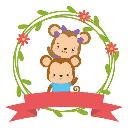 cute couple monkey animals wreath flowers vector illustration 矢量图像