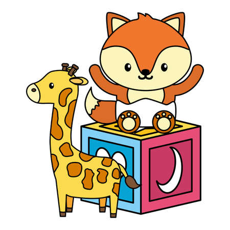 cute little fox with giraffe and block vector illustration design 矢量图像