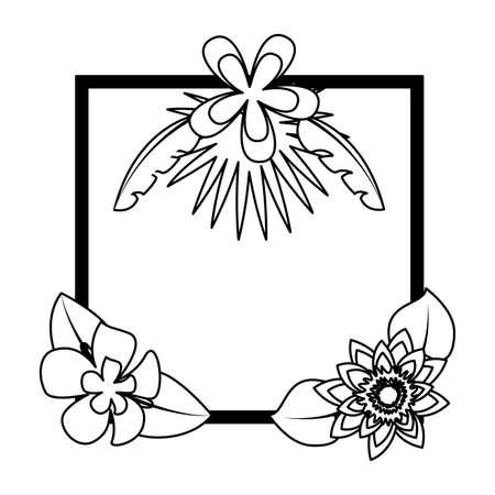 tropical flowers leaves frame decoration vector illustration