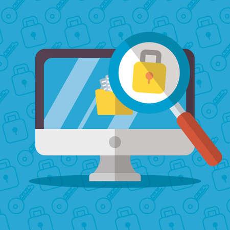 computer data padlock analysis technology internet security vector illustration Illustration