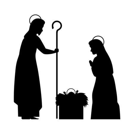 merry christmas mary joseph and baby jesus silhouette design, nativity winter season and decoration theme Vector illustration