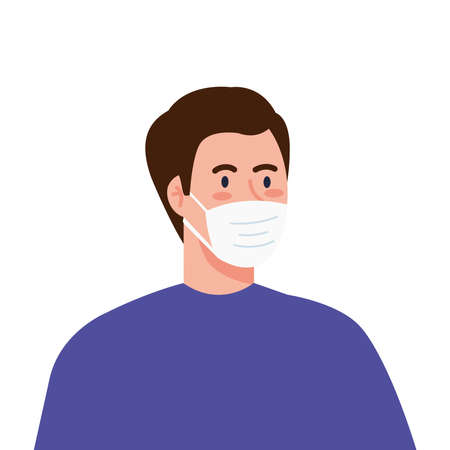 New normal of man with mask design of covid 19 virus and prevention theme Vector illustration