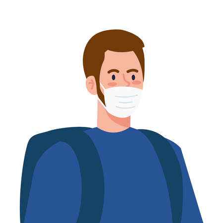 New normal of man with mask and bag design of covid 19 virus and prevention theme Vector illustration
