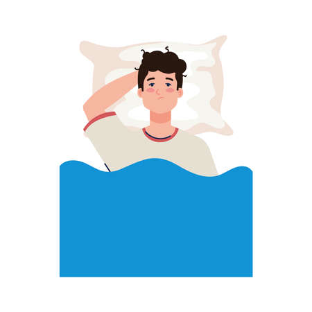 man on bed with insomnia design, sleep and night theme Vector illustration