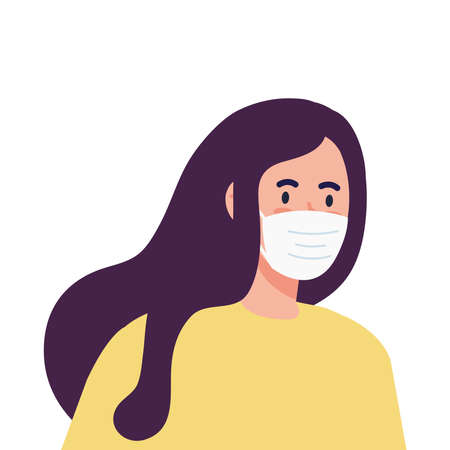 New normal of woman with mask design of covid 19 virus and prevention theme Vector illustration