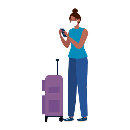 New normal of black woman with mask travel bag and smartphone design of covid 19 virus and prevention theme Vector illustration Illustration