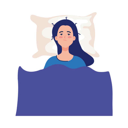 woman on bed with insomnia design, sleep and night theme Vector illustration
