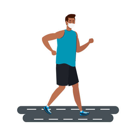 New normal of man with mask running on street design of covid 19 virus and prevention theme Vector illustration