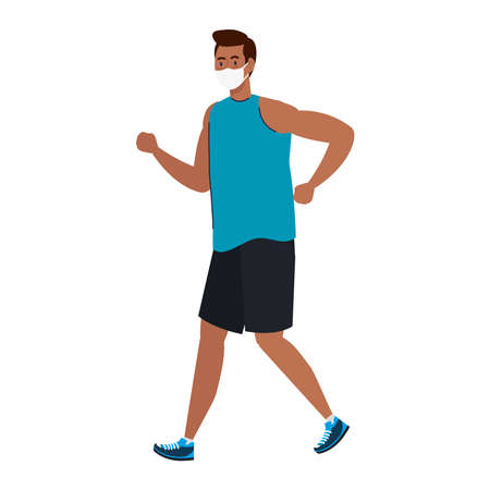 New normal of man with mask running design of covid 19 virus and prevention theme Vector illustration Illustration