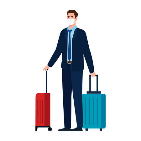 New normal of man with mask and travel bags design of covid 19 virus and prevention theme Vector illustration