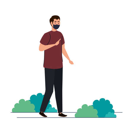 New normal of man with mask at park design of covid 19 virus and prevention theme Vector illustration