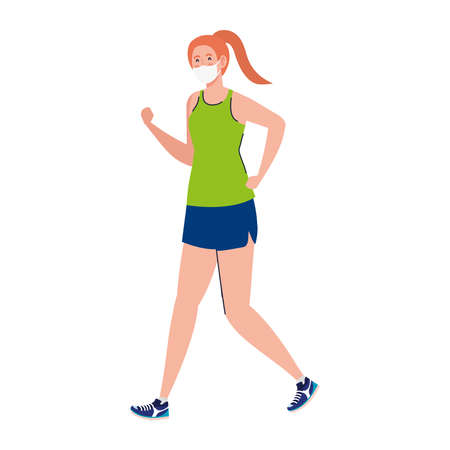 New normal of woman with mask running design of covid 19 virus and prevention theme Vector illustration Illustration