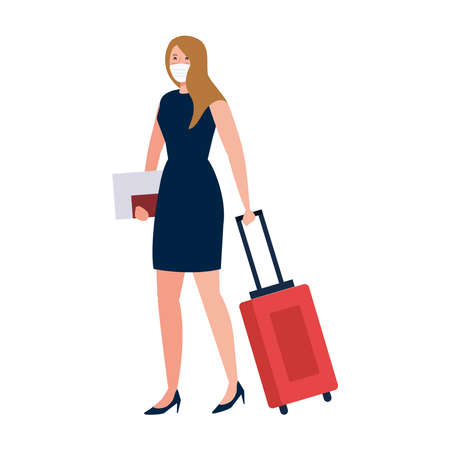 New normal of woman with mask travel bag and passport design of covid 19 virus and prevention theme Vector illustration