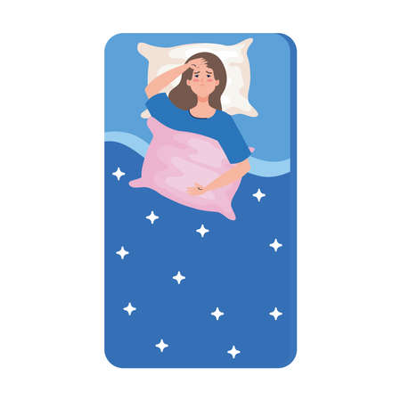 woman on bed holding pillow with insomnia design, sleep and night theme Vector illustration