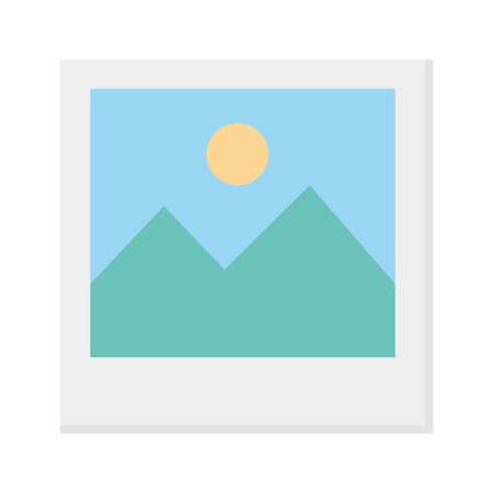 landscape picture icon design, Image photography digital photo electronic studio media and camera theme Vector illustration