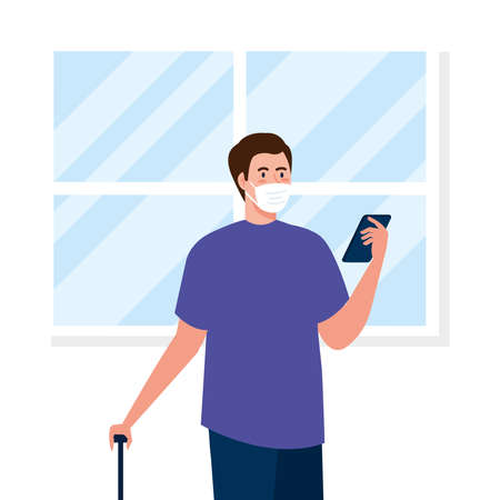 New normal of man with mask travel bag and smartphone design of covid 19 virus and prevention theme Vector illustration