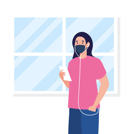 New normal of woman with mask and headphones design of covid 19 virus and prevention theme Vector illustration Illustration