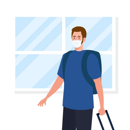 New normal of man with mask and travel bags in front of window design of covid 19 virus and prevention theme Vector illustration Illustration