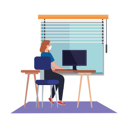 New normal of woman with mask at desk in front of window design of covid 19 virus and prevention theme Vector illustration Illustration