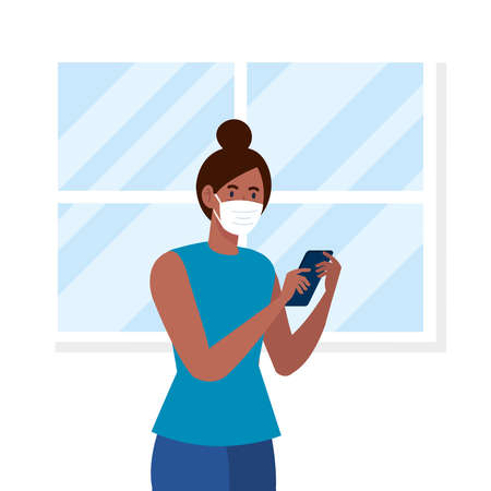 New normal of woman with mask and smartphone in front of window design of covid 19 virus and prevention theme Vector illustration Illustration