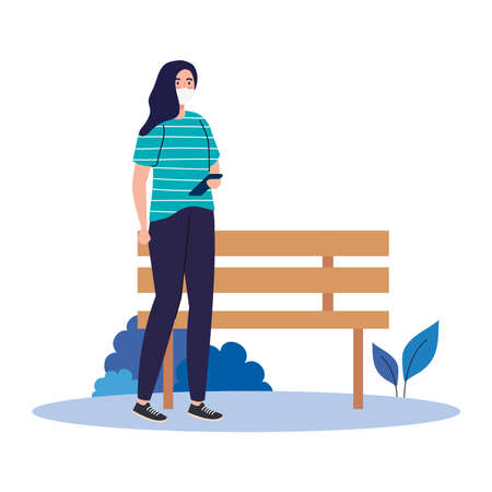 New normal of woman with mask smartphone and bench design of covid 19 virus and prevention theme Vector illustration