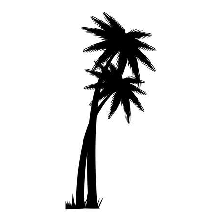 Palm tree silhouette icon design, Beach summer vacation tropical relaxation outdoor nature tourism relax lifestyle and paradise theme Vector illustration