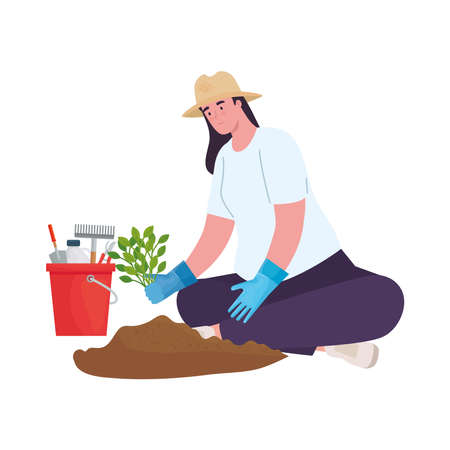 Gardening woman with tools bucket and plant design, garden planting and nature theme Vector illustration