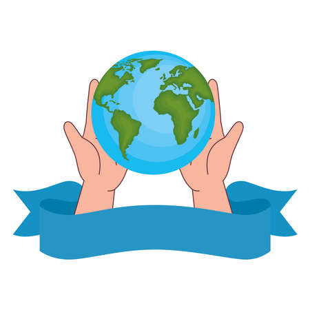 World sphere on hands with ribbon design, Planet continent earth and globe theme Vector illustration