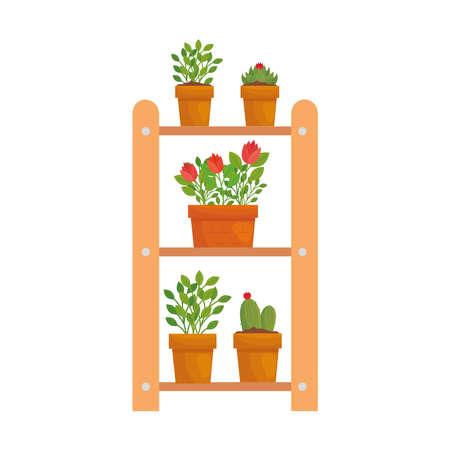 Plants inside pots on ladder design of Floral nature garden ornament botany decoration beauty and flora theme Vector illustration