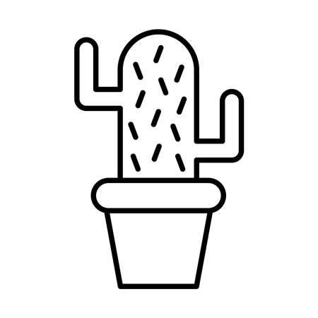 Cactus sticker and line style icon design, Plant desert nature tropical summer mexico and western theme Vector illustration