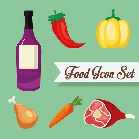 wine bottle and food icon set design, food eat restaurant and menu theme Vector illustration