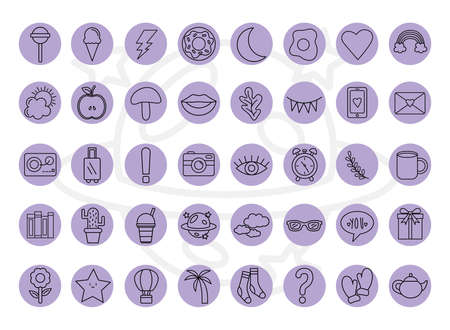 cute stickers line style 40 icon set design, badges ornament and fashion theme Vector illustration