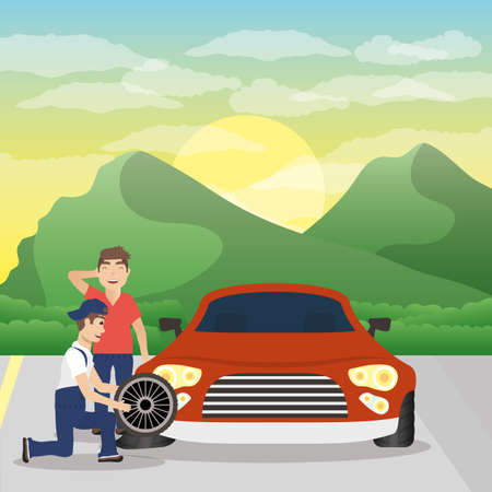 man mechanic working in car changing tyre vector illustration design