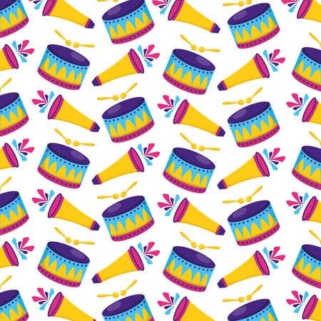 carnival drum fireworks background vector illustration design
