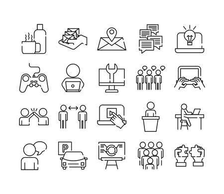 bundle of twenty coworking set collection line style icons vector illustration design
