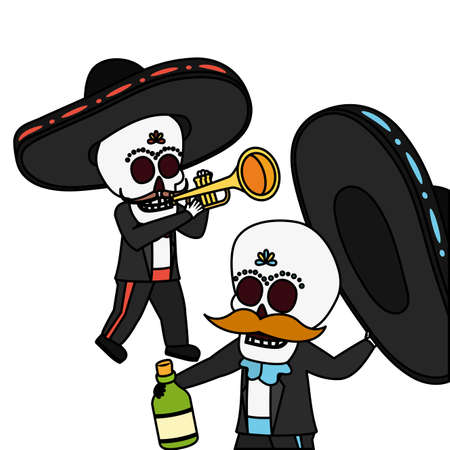 mexican skulls mariachis with trumpet and tequila bottle vector illustration design