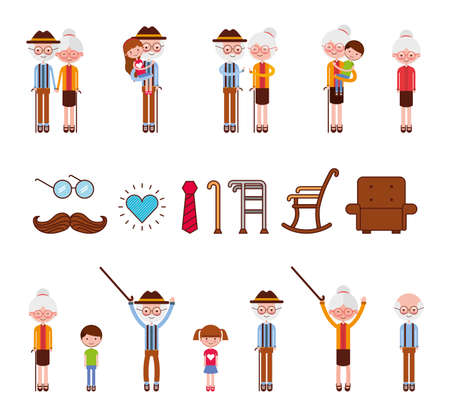 bundle of grandparents people set icons vector illustration design