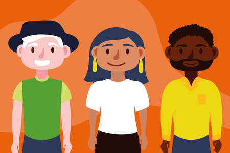 group of interracial persons Inclusion concept characters vector illustration design