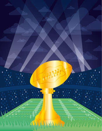 superbowl poster with balloon trophy in stadium vector illustration design
