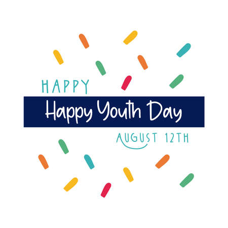 happy youth day lettering with confetti flat style vector illustration design
