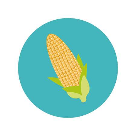 corn cob block and flat style vector illustration design