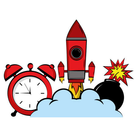 comic rocket clock bomb cartoon vector illustration