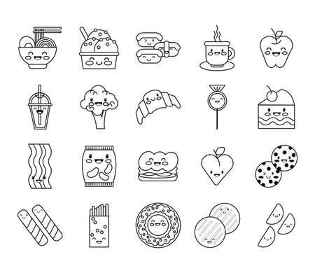 bundle of nutritive food kawaii set icons vector illustration design Vecteurs