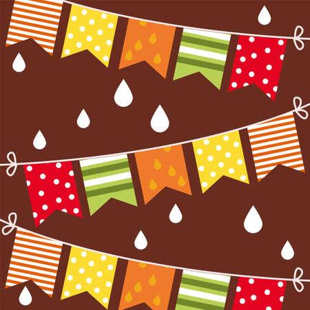 hello autumn season garlands and rain drops vector illustration design