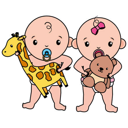 cute little babies couple with giraffe and bear toys vector illustration design