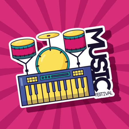 synthesizer and drums music festival vector illustration
