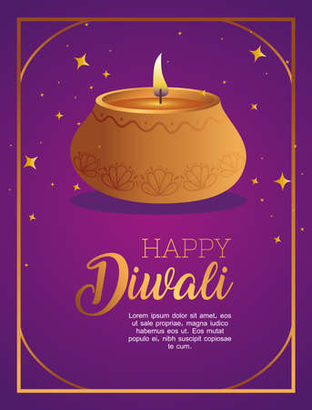 Happy diwali diya candle with stars design, Festival of lights theme Vector illustration