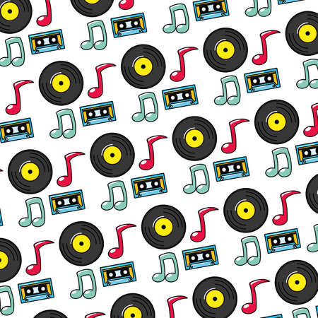 background music cassette vinyl note pop art elements vector illustration